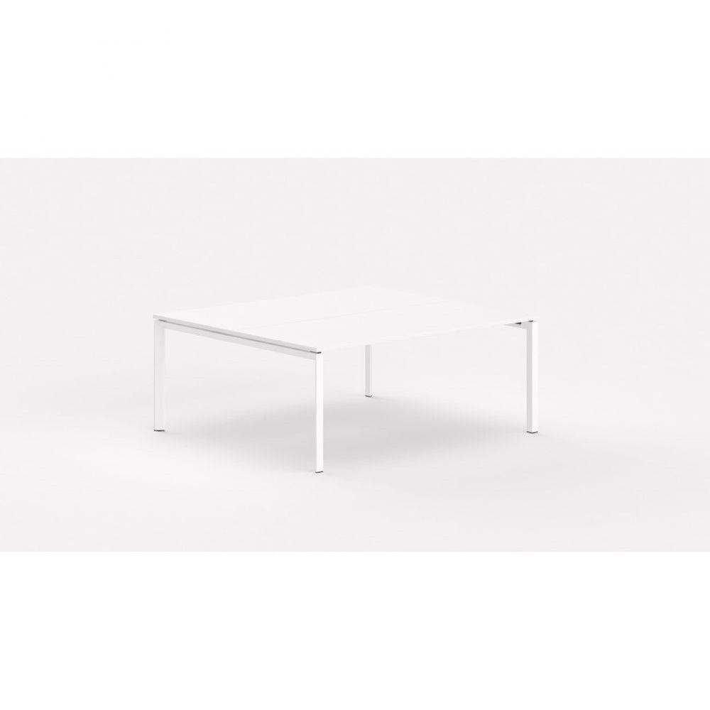 Bureau bench contemp.2 personnes Regis / Blanc / Longueur 140 cm / Pieds blanc