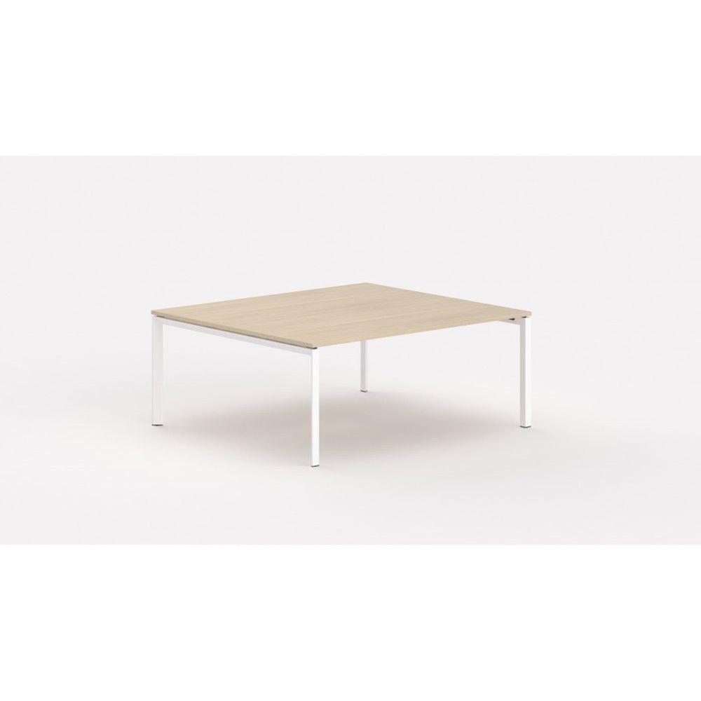 Bureau bench contemp.2 personnes Regis Chêne moyen Longueur 140 cm Pieds blanc