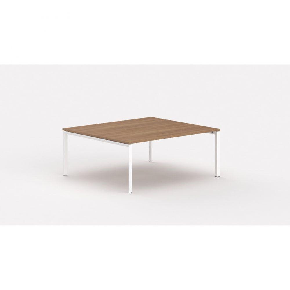 Bureau bench contemp.2 personnes Regis / Poirier / Longueur 140 cm / Pieds blanc