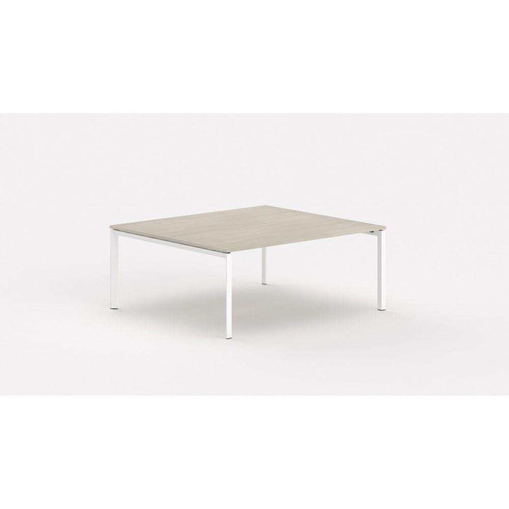 Bureau bench contemp.2 personnes Regis Acacia clair Longueur 140 cm Pieds blanc