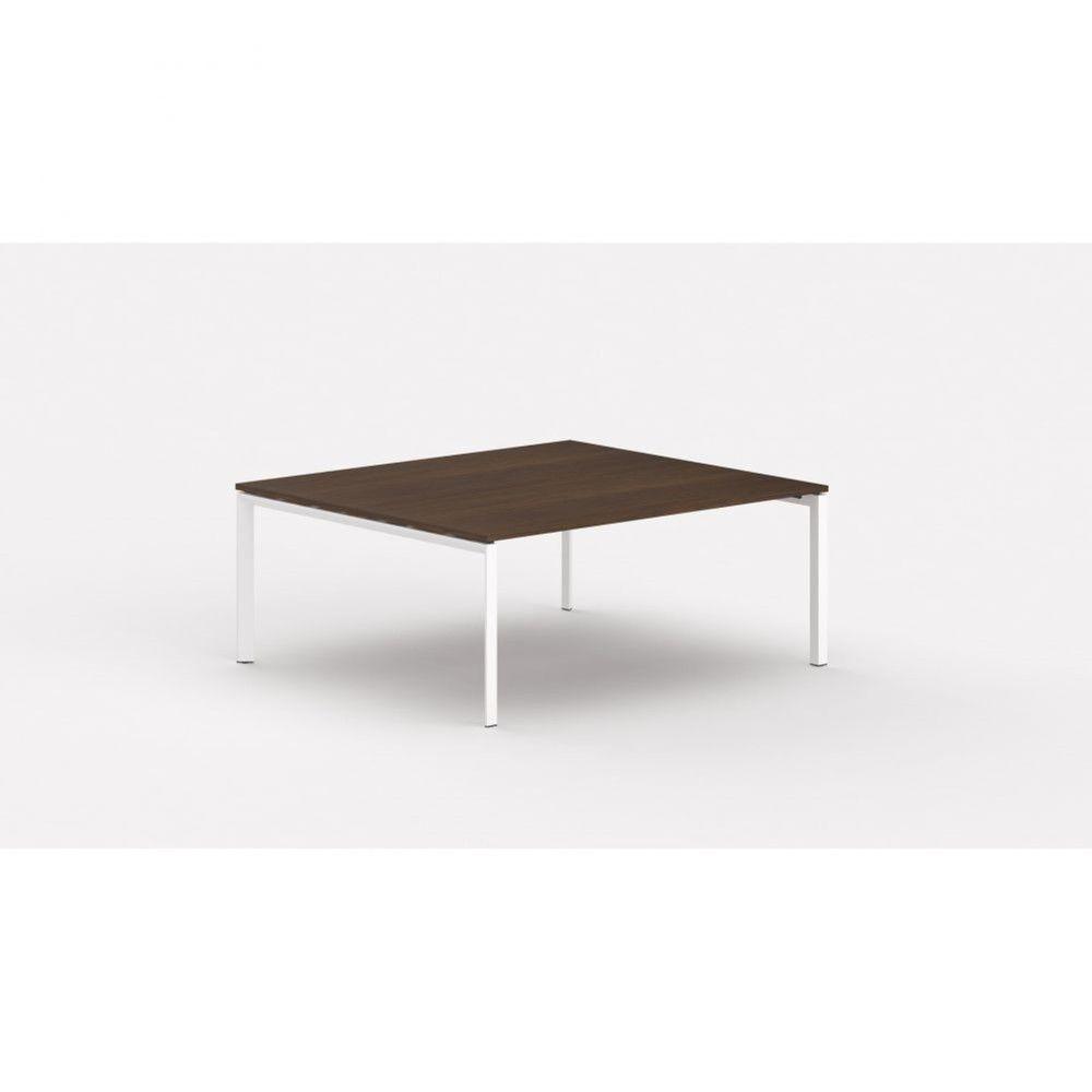 Bureau bench contemp.2 personnes Regis / Zebrano / Longueur 140 cm / Pieds blanc