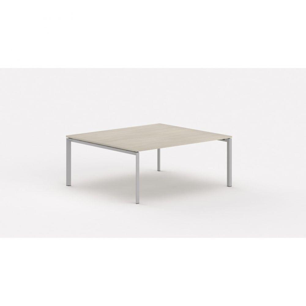 Bureau bench contemp.2 personnes Regis Acacia clair L160 cm Pieds argenté