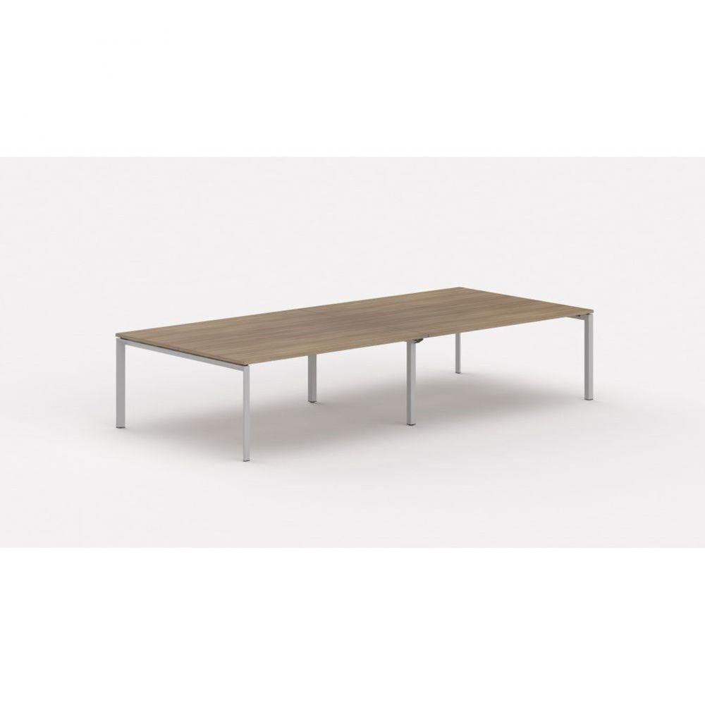 Bureau bench contemp.4 personnes Regis Acacia foncé L280 cm Pieds argenté
