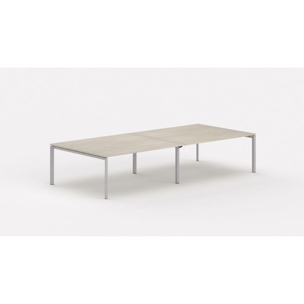 Bureau bench contemp.4 personnes Regis Acacia clair L320 cm Pieds argenté