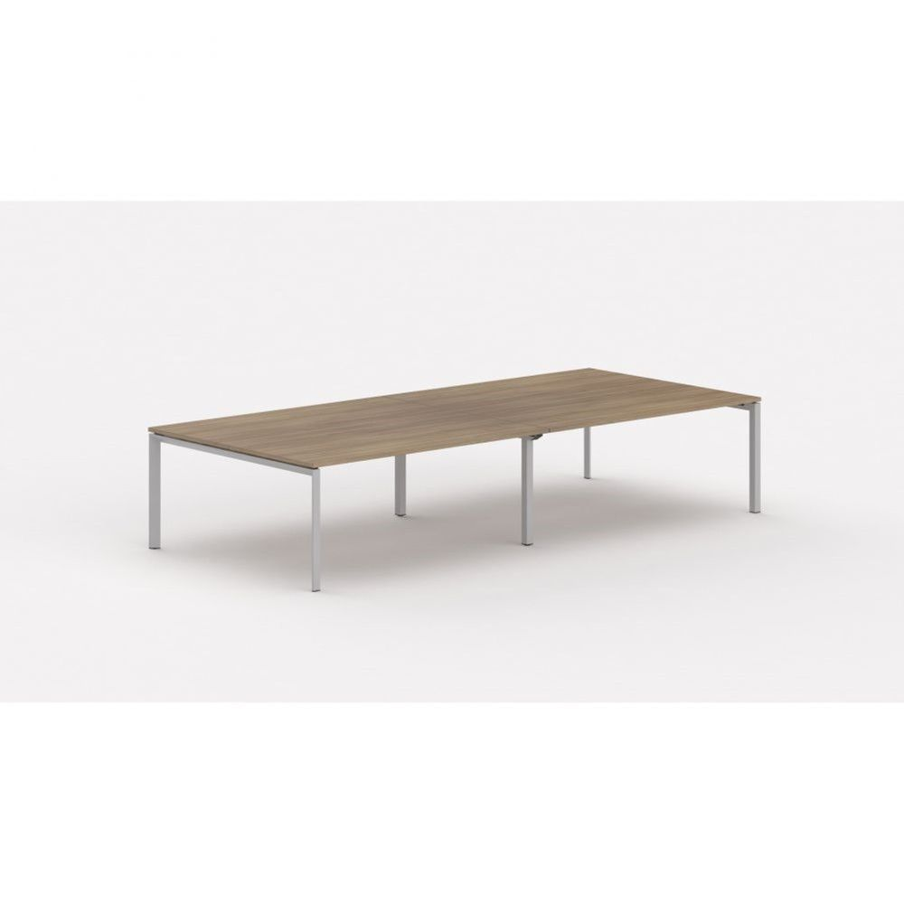 Bureau bench contemp.4 personnes Regis Acacia foncé L320 cm Pieds argenté