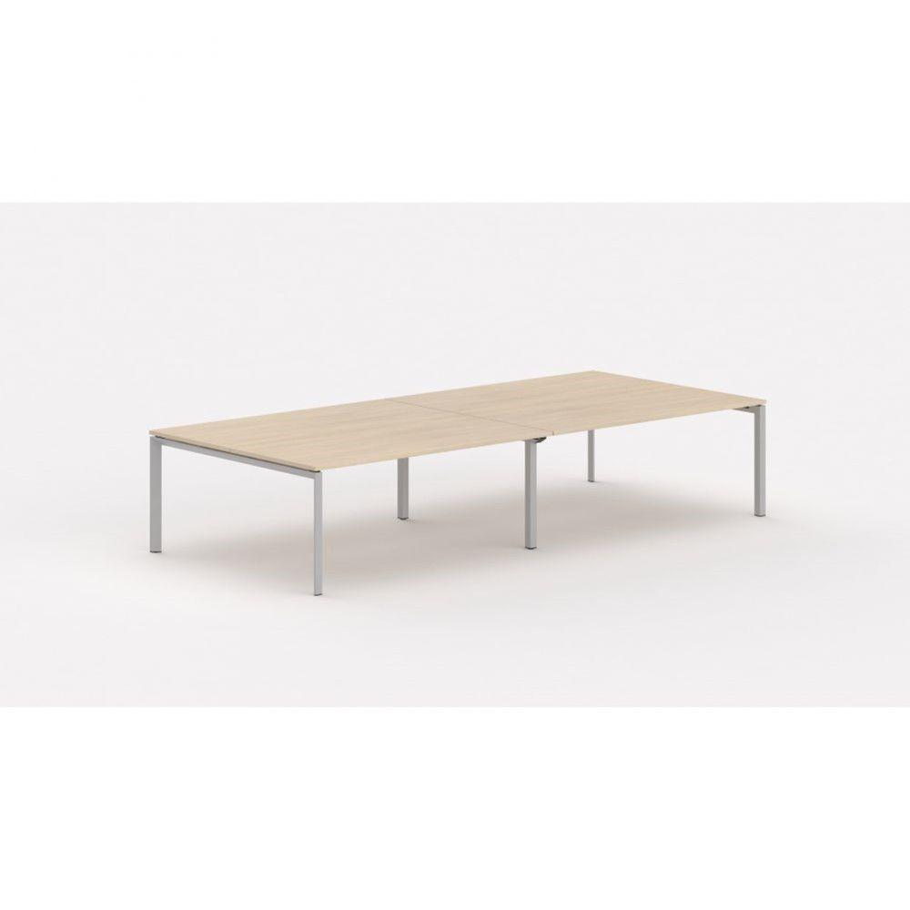 Bureau bench contemp.4 personnes Regis Chêne moyen Longueur 360 cm Pieds argenté