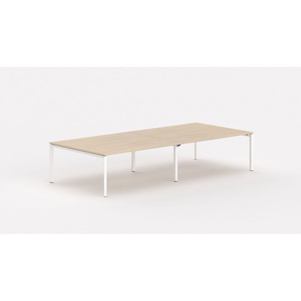 Bureau bench contemp.4 personnes Regis Chêne moyen Longueur 360 cm Pieds blanc