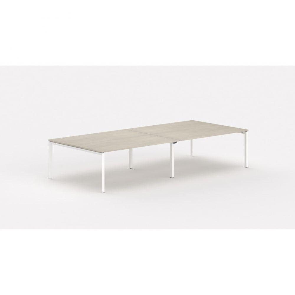Bureau bench contemp.4 personnes Regis Acacia clair Longueur 360 cm Pieds blanc
