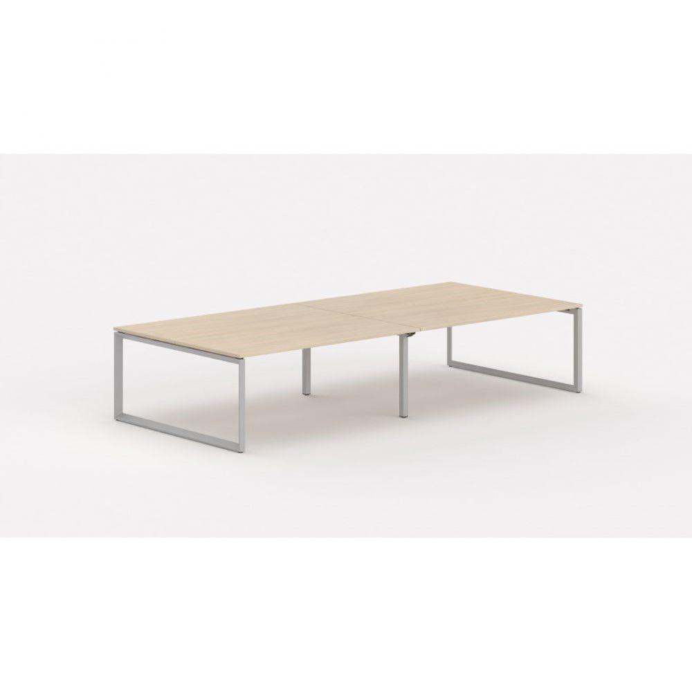 Bureau bench contemp.4 personnes Regis II Chêne moyen L280 cm Pieds argenté