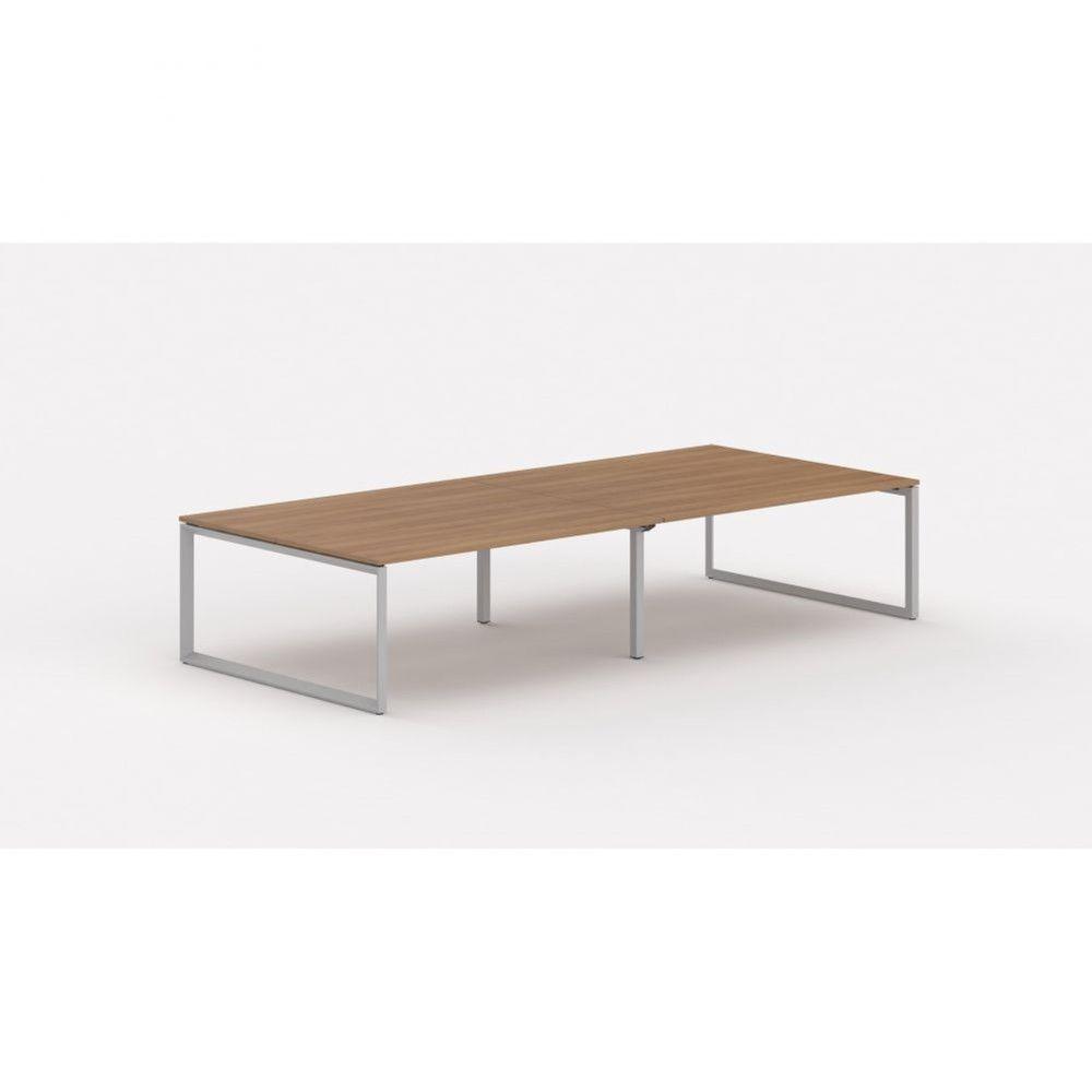 Bureau bench contemp.4 personnes Regis II Poirier Longueur 280 cm Pieds argenté