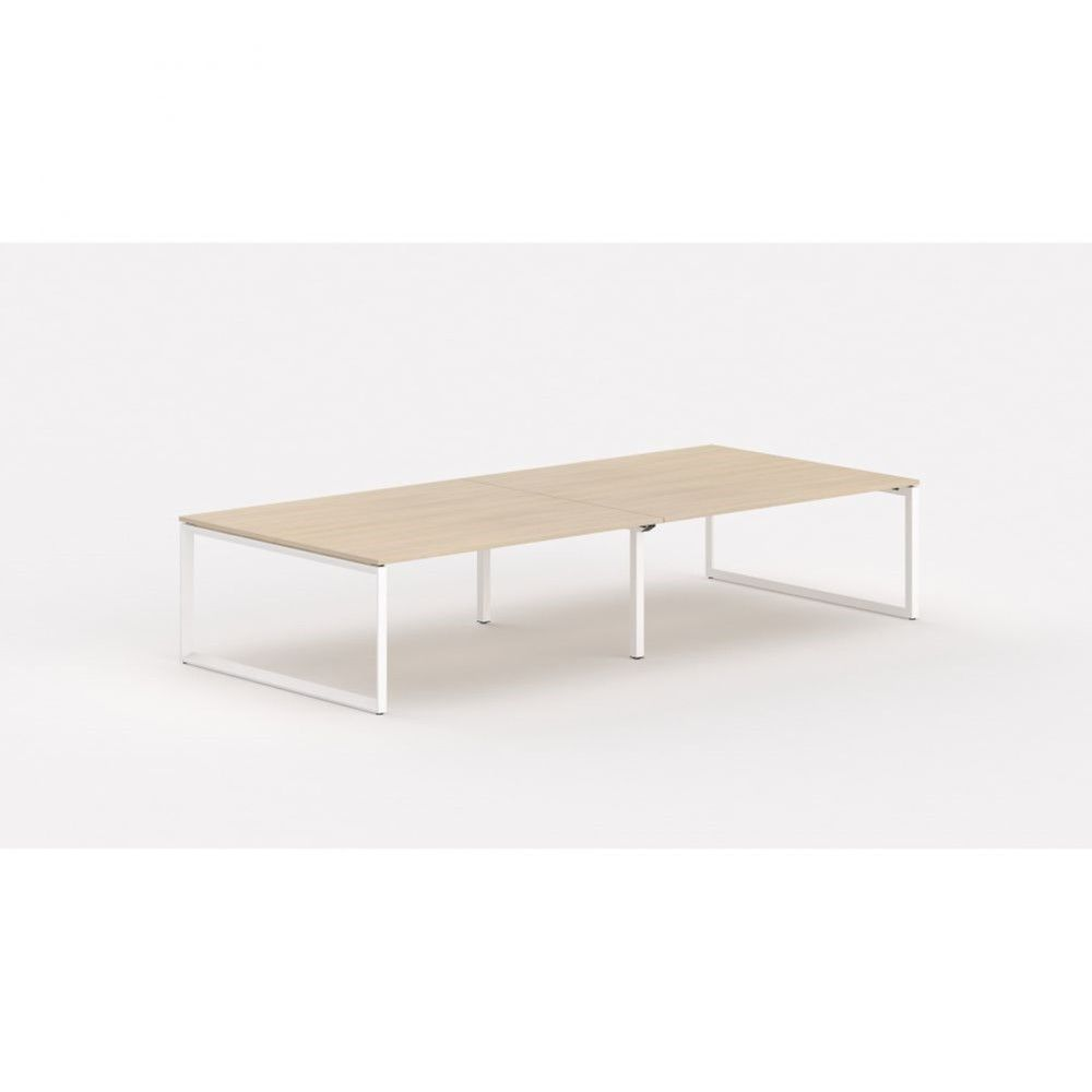 Bureau bench contemp.4 personnes Regis II Chêne moyen L280 cm Pieds blanc