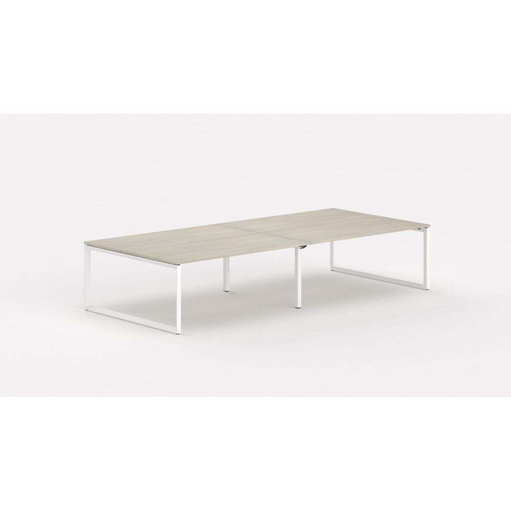 Bureau bench contemp.4 personnes Regis II Acacia clair L280 cm Pieds blanc