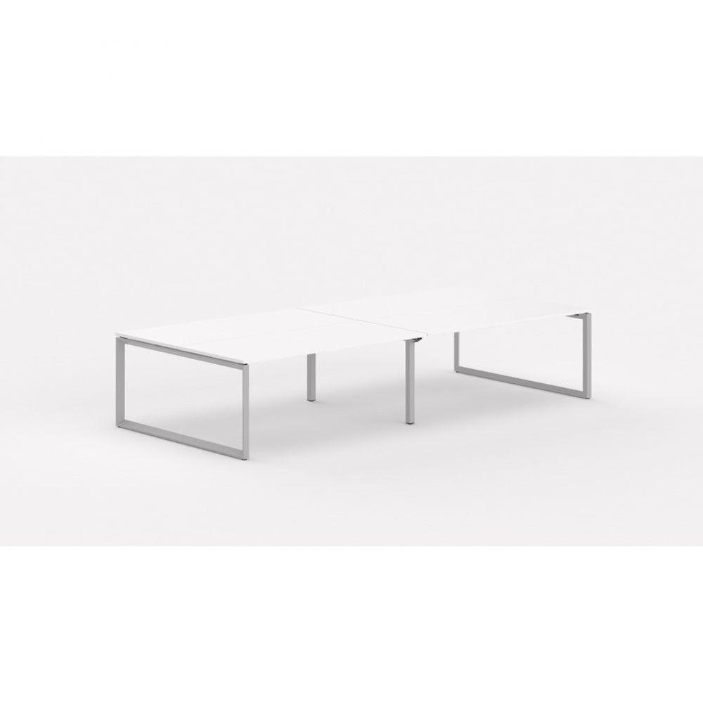 Bureau bench contemp.4 personnes Regis II Blanc Longueur 320 cm Pieds argenté