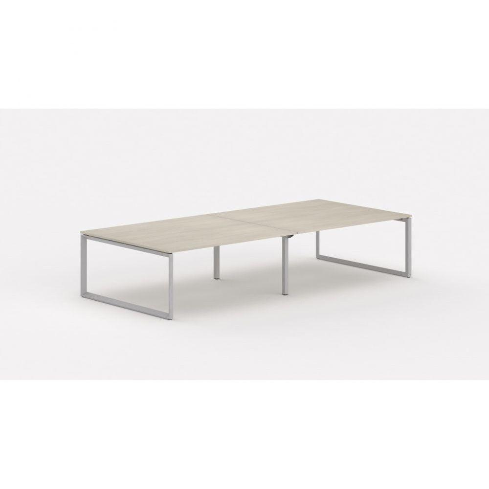Bureau bench contemp.4 personnes Regis II Acacia clair L320 cm Pieds argenté