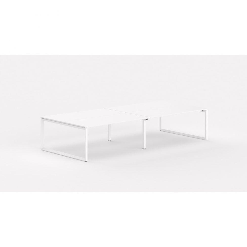Bureau bench contemp.4 personnes Regis II Blanc Longueur 320 cm Pieds blanc