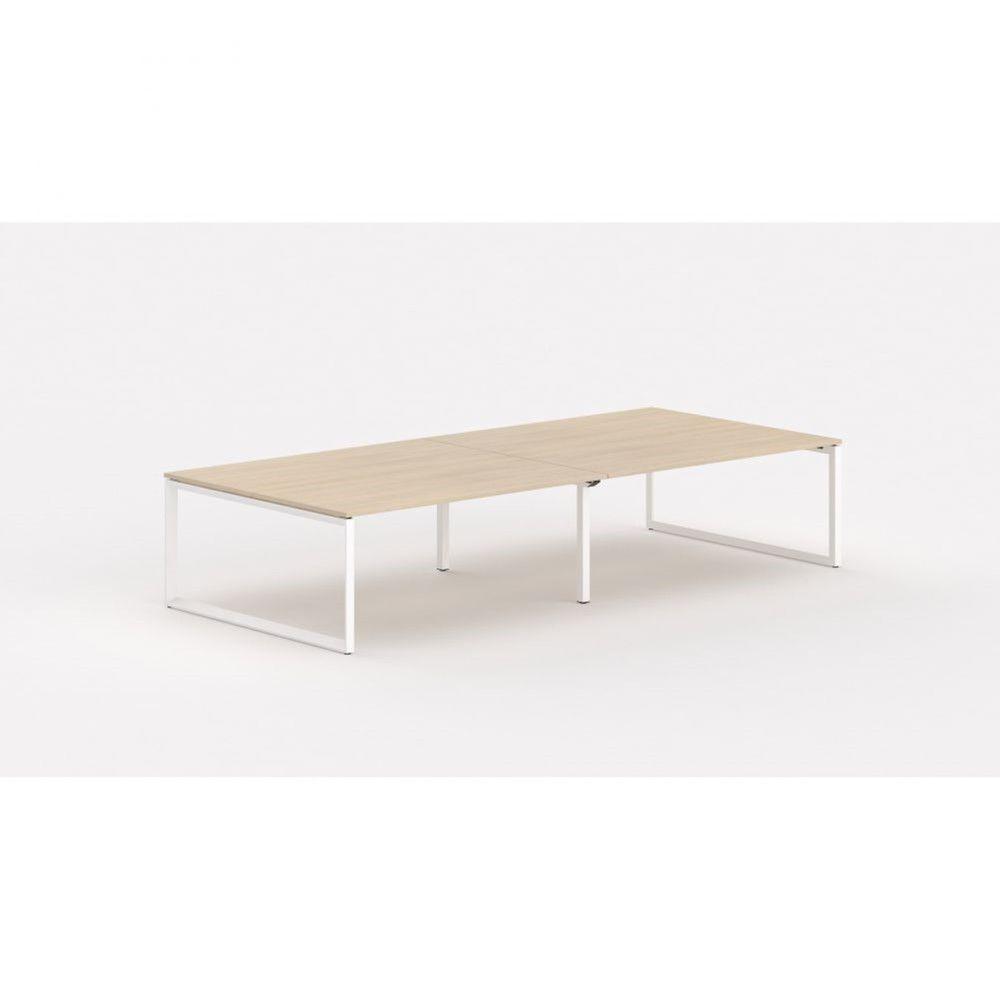 Bureau bench contemp.4 personnes Regis II Chêne moyen L320 cm Pieds blanc