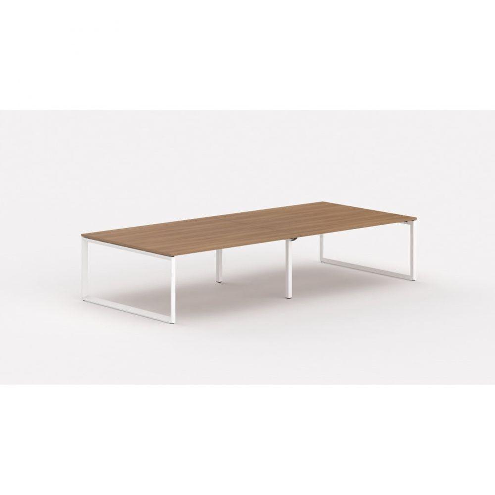 Bureau bench contemp.4 personnes Regis II Poirier Longueur 320 cm Pieds blanc