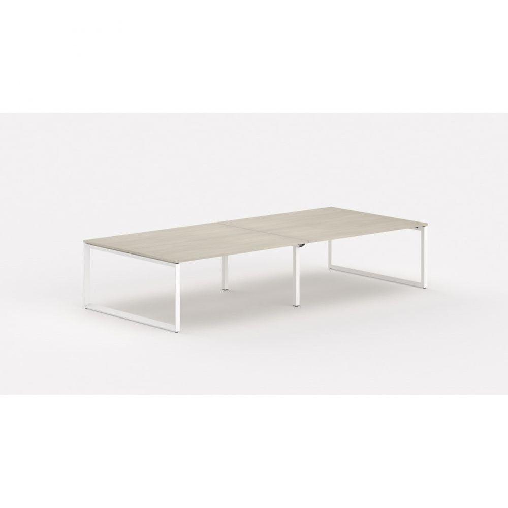 Bureau bench contemp.4 personnes Regis II Acacia clair L320 cm Pieds blanc