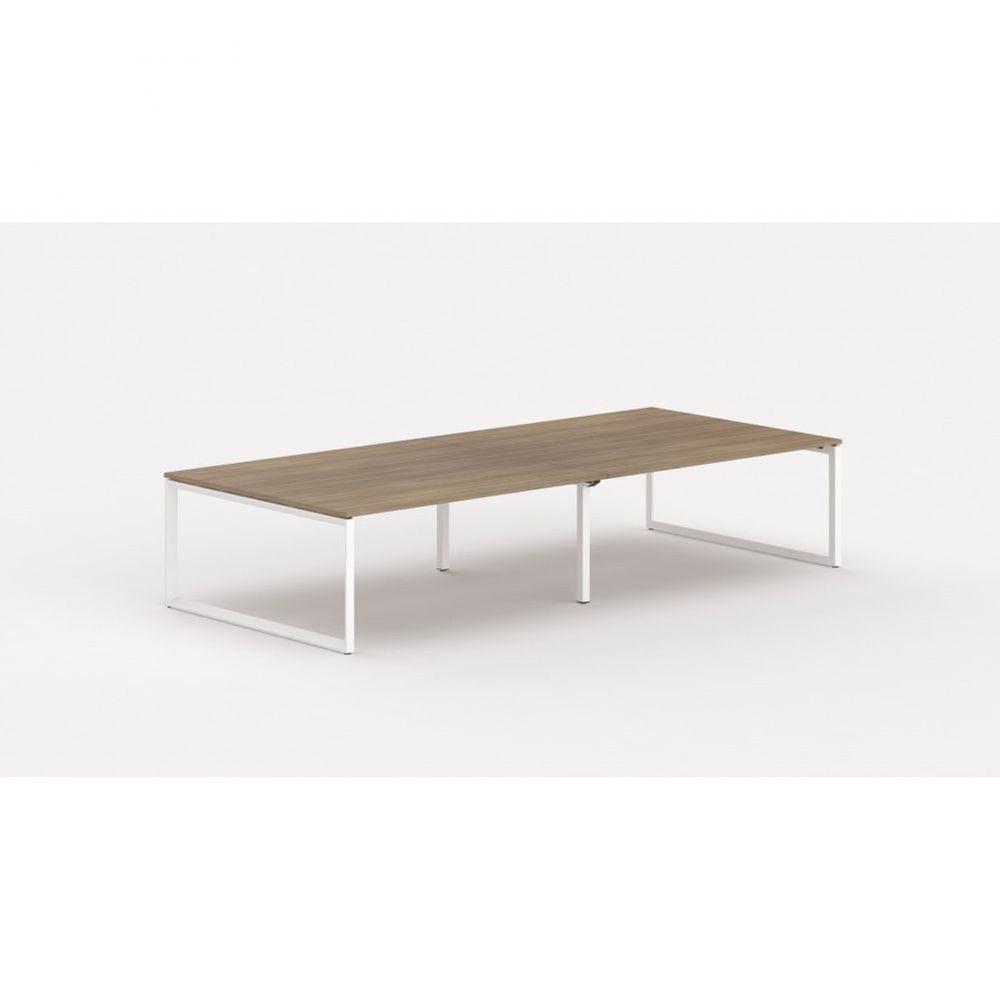 Bureau bench contemp.4 personnes Regis II Acacia foncé L320 cm Pieds blanc