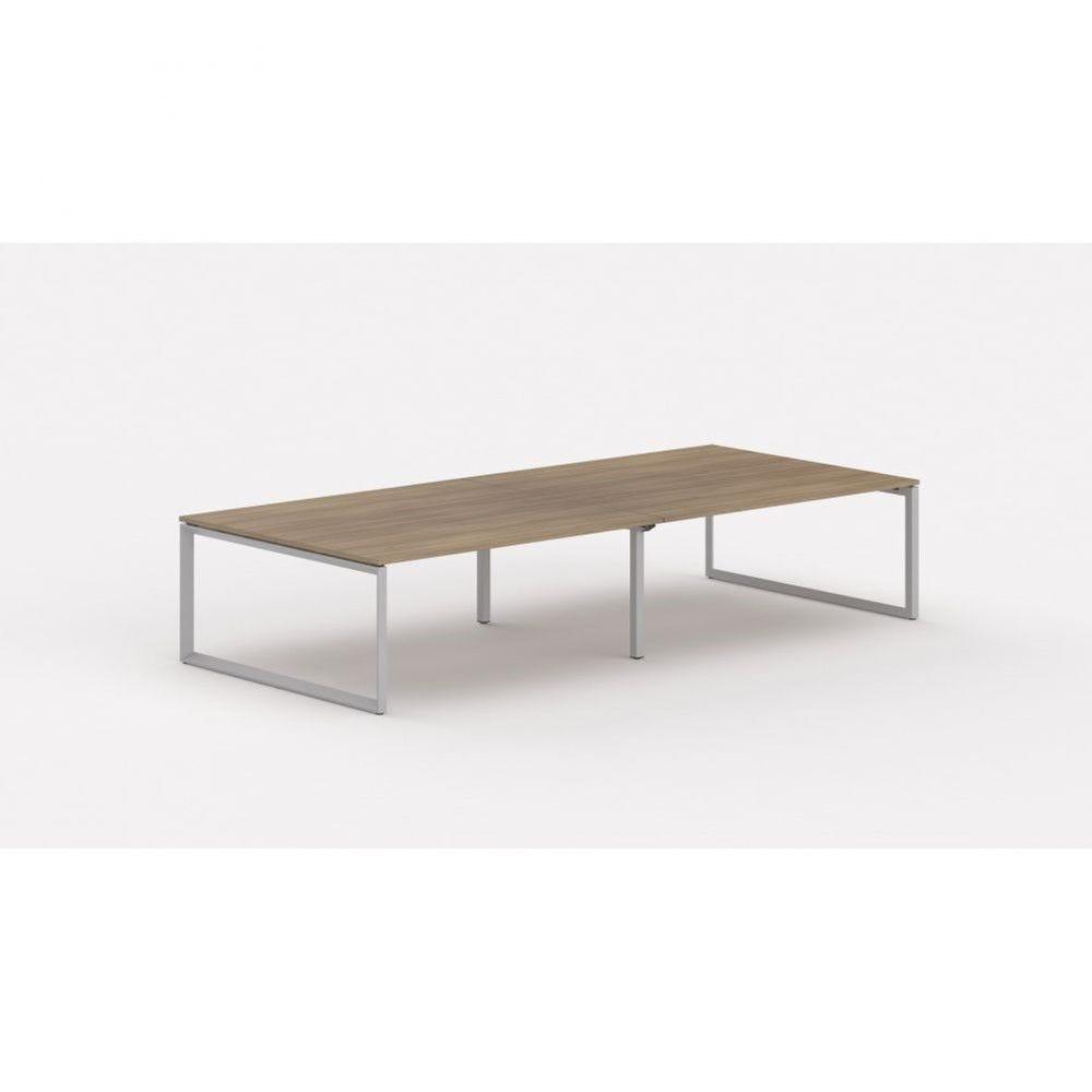 Bureau bench contemp.4 personnes Regis II Acacia foncé L360 cm Pieds argenté