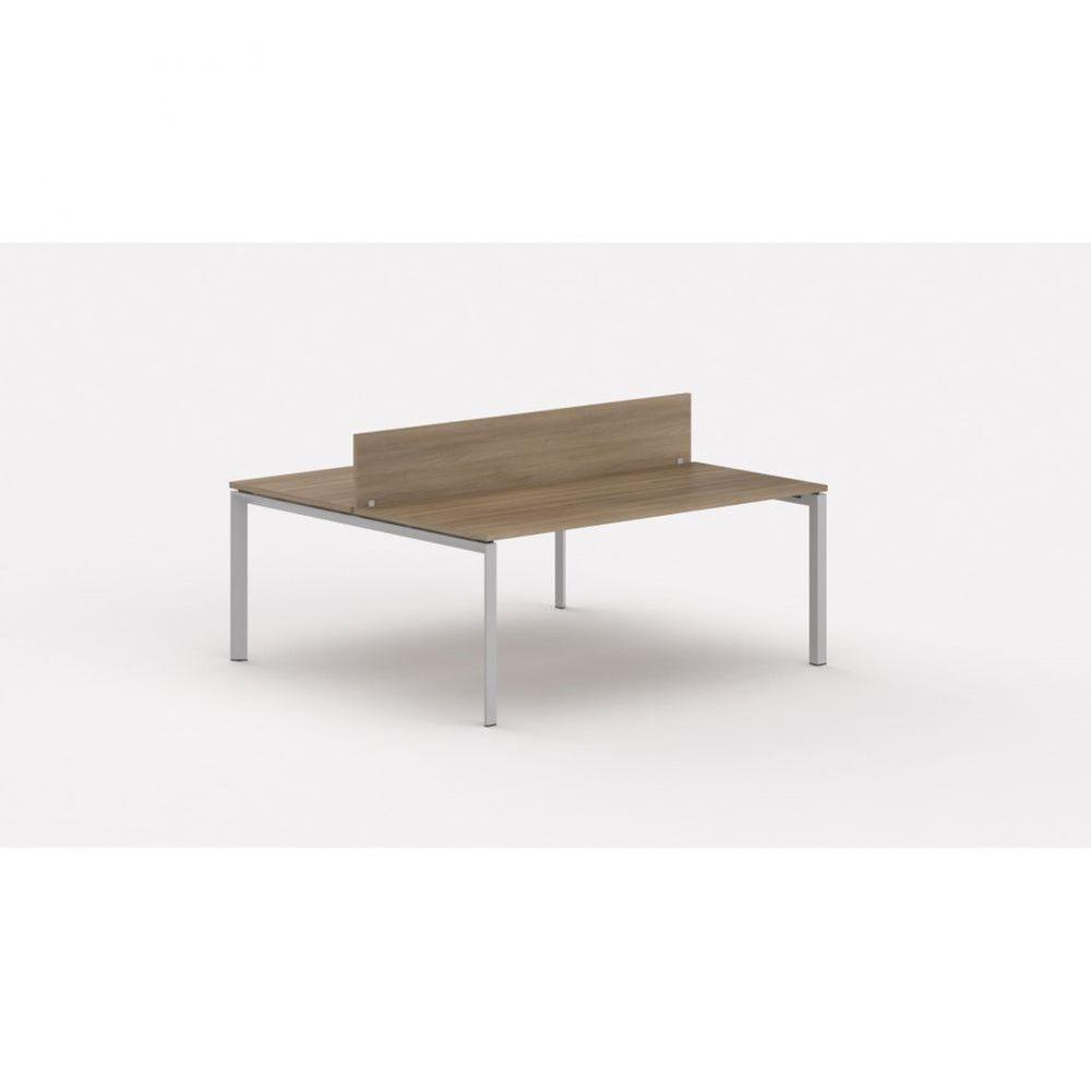 Bureau bench contemp.2 personnes Regis Acacia foncé L100 cm Piètement argenté