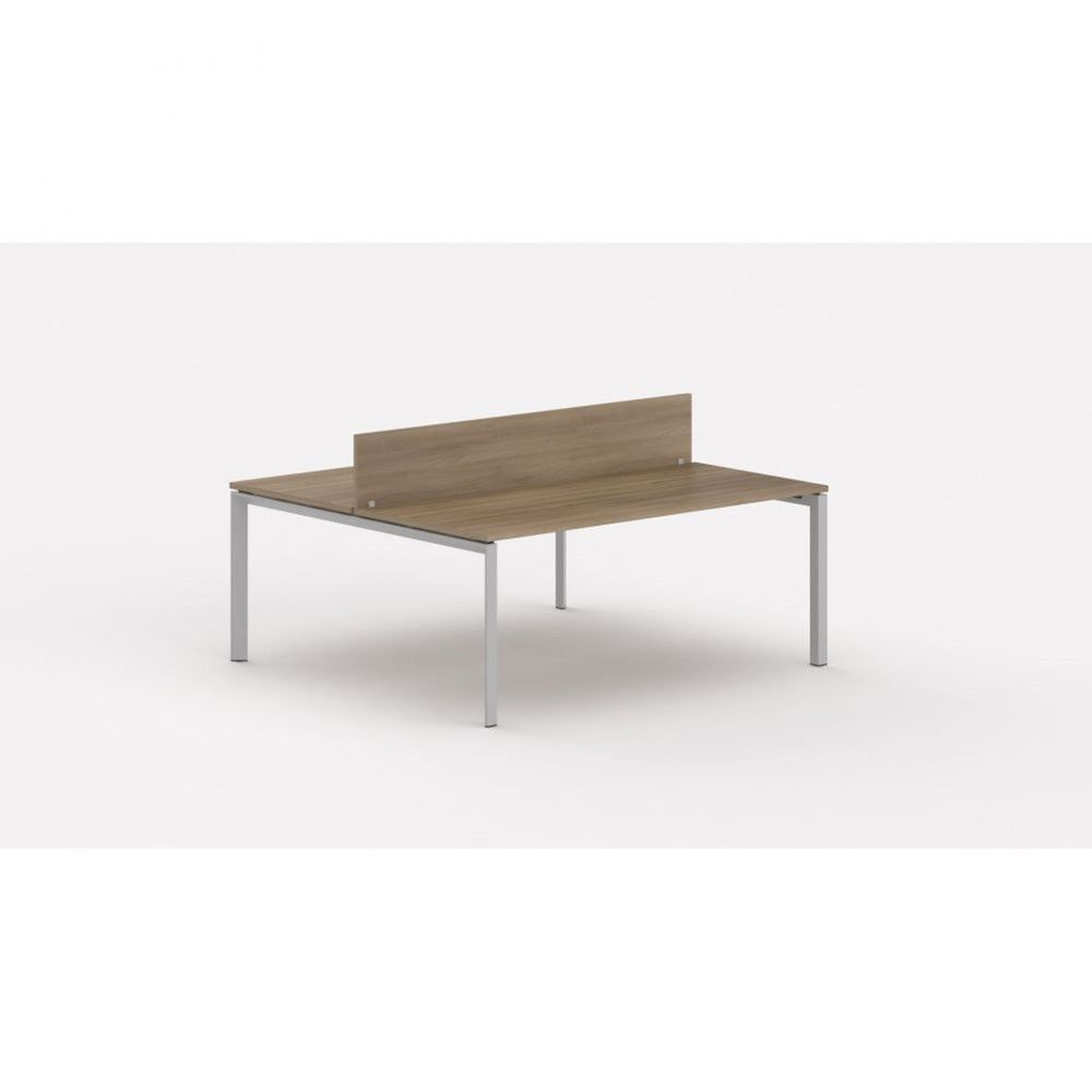 Bureau bench contemp.2 personnes Regis Acacia foncé L140 cm Piètement argenté