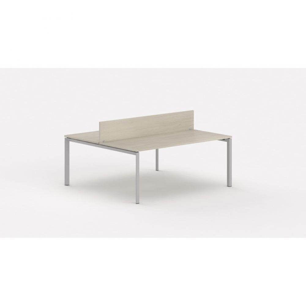 Bureau bench contemp.2 personnes Regis Acacia clair L160 cm Piètement argenté