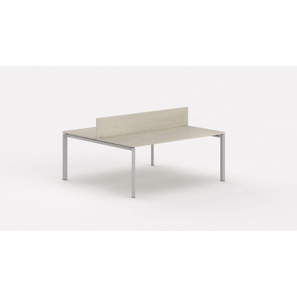 Bureau bench contemp.2 personnes Regis Acacia clair L180 cm Piètement argenté