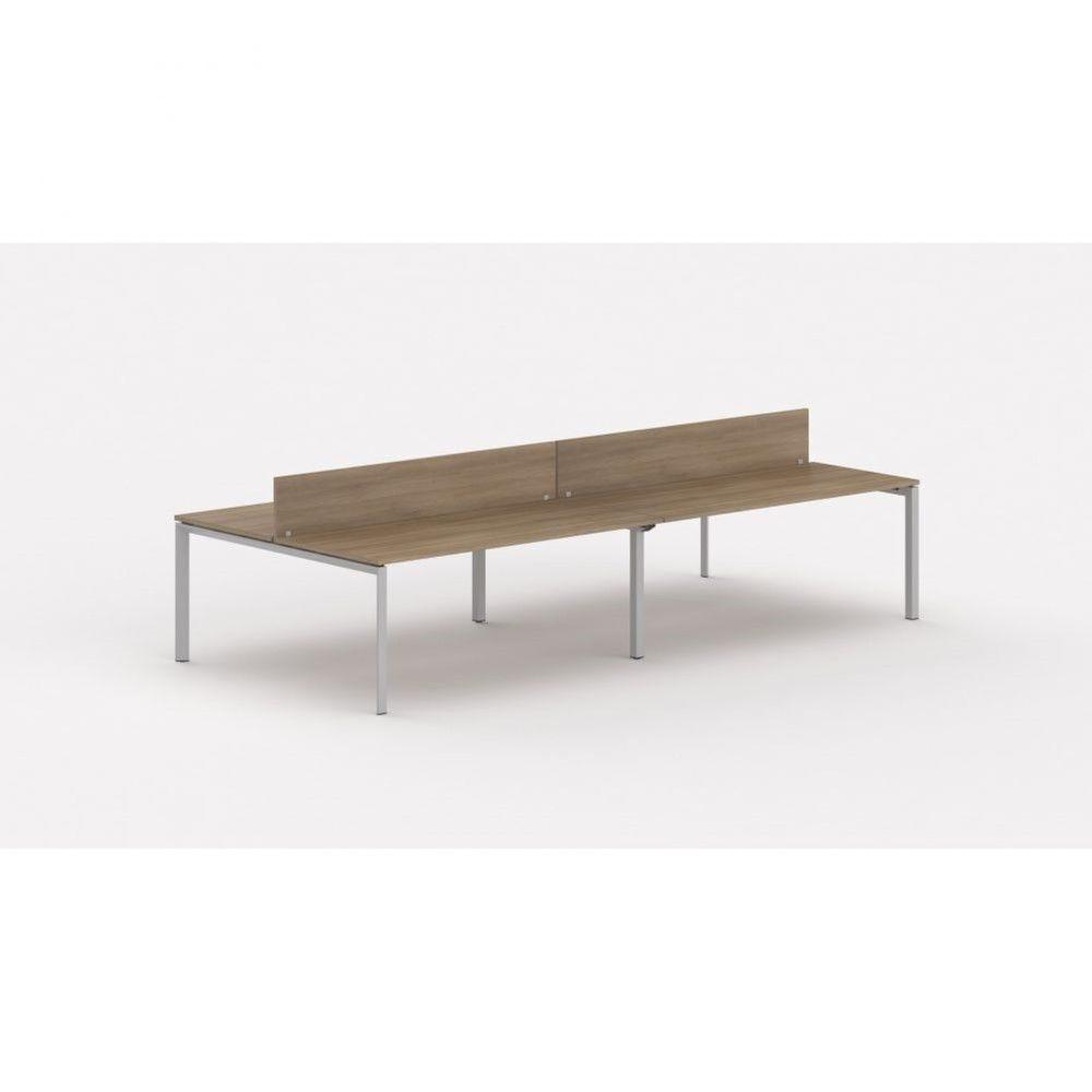 Bureau bench contemp.4 personnes Regis Acacia foncé L200 cm Pieds argenté