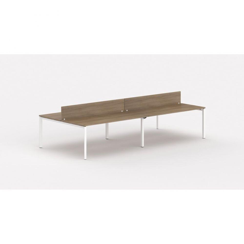Bureau bench 4 personnes - cloisonnette Regis Acacia foncé L200 cm Pieds blanc