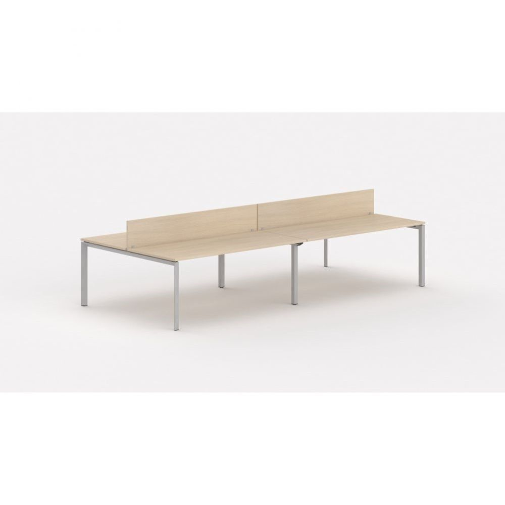 Bureau bench 4 personnes - cloisonnette Regis Chêne moyen L320 cm Pieds argenté