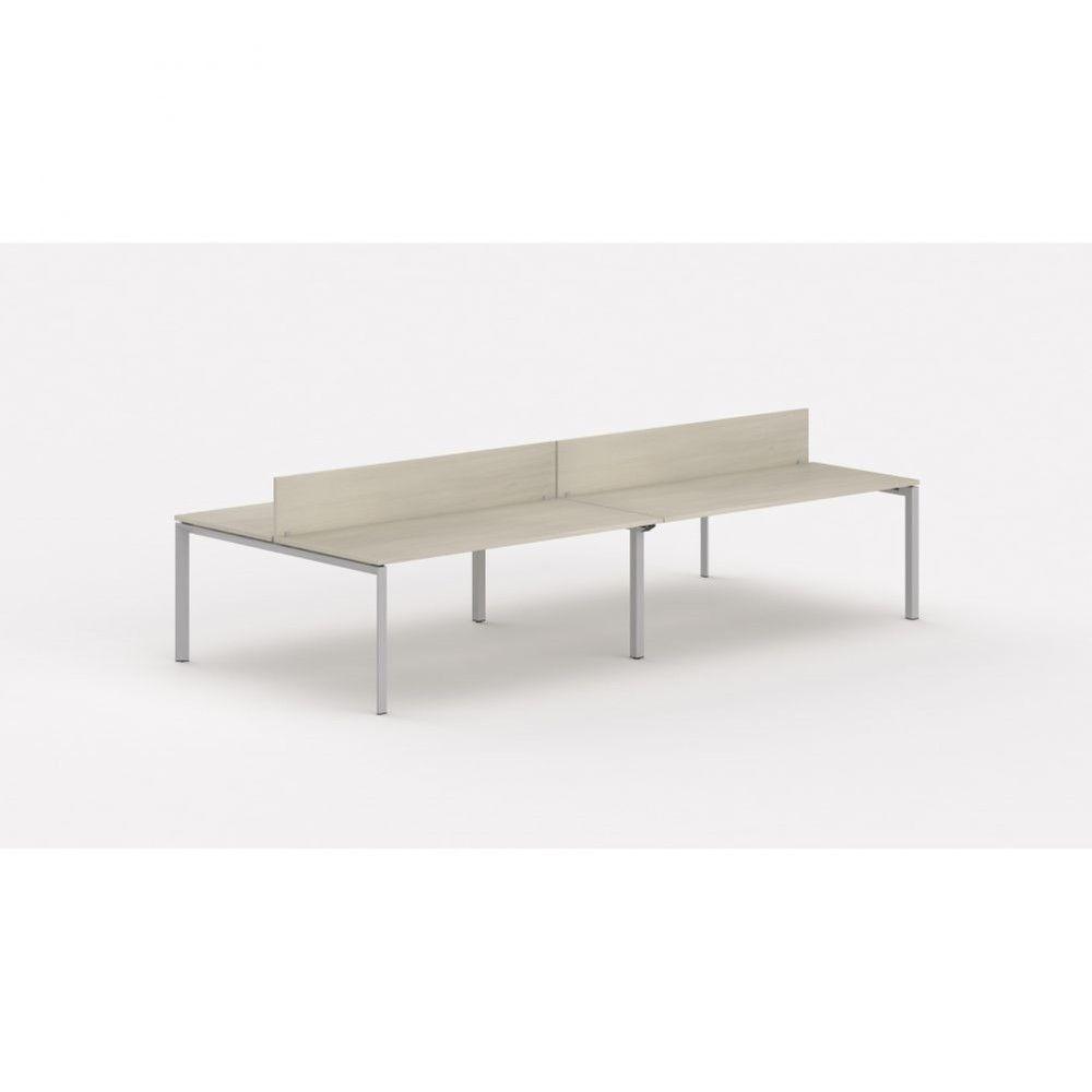 Bureau bench contemp.4 personnes Regis Acacia clair L320 cm Piètement argenté