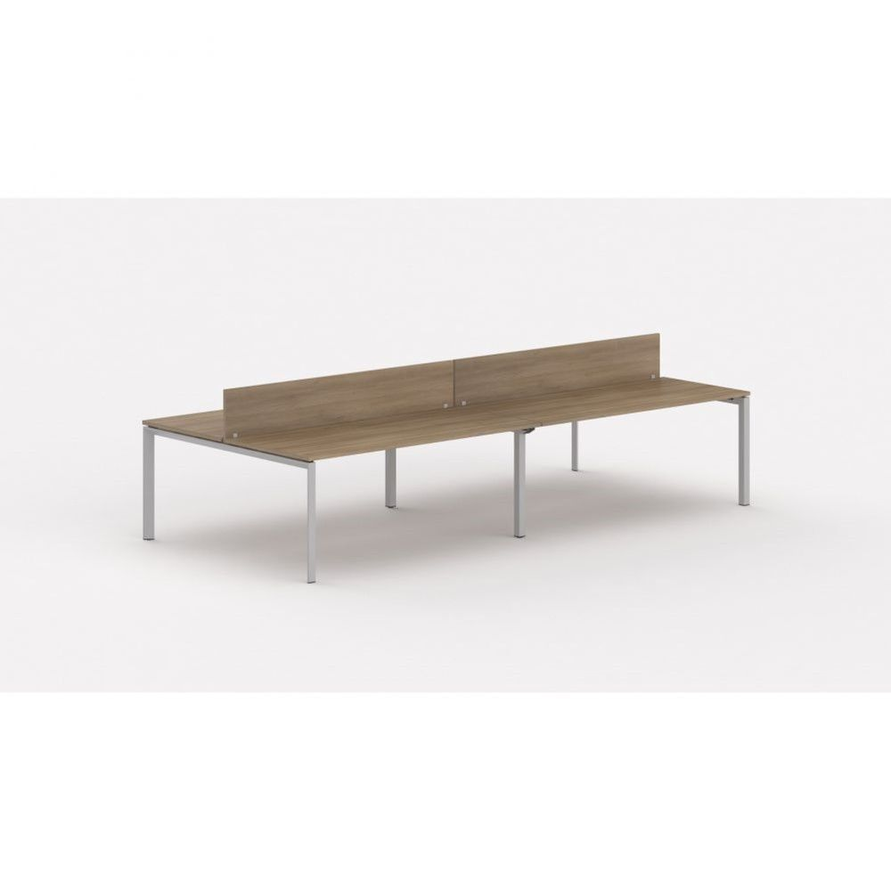 Bureau bench contemp.4 personnes Regis Acacia foncé L320 cm Piètement argenté