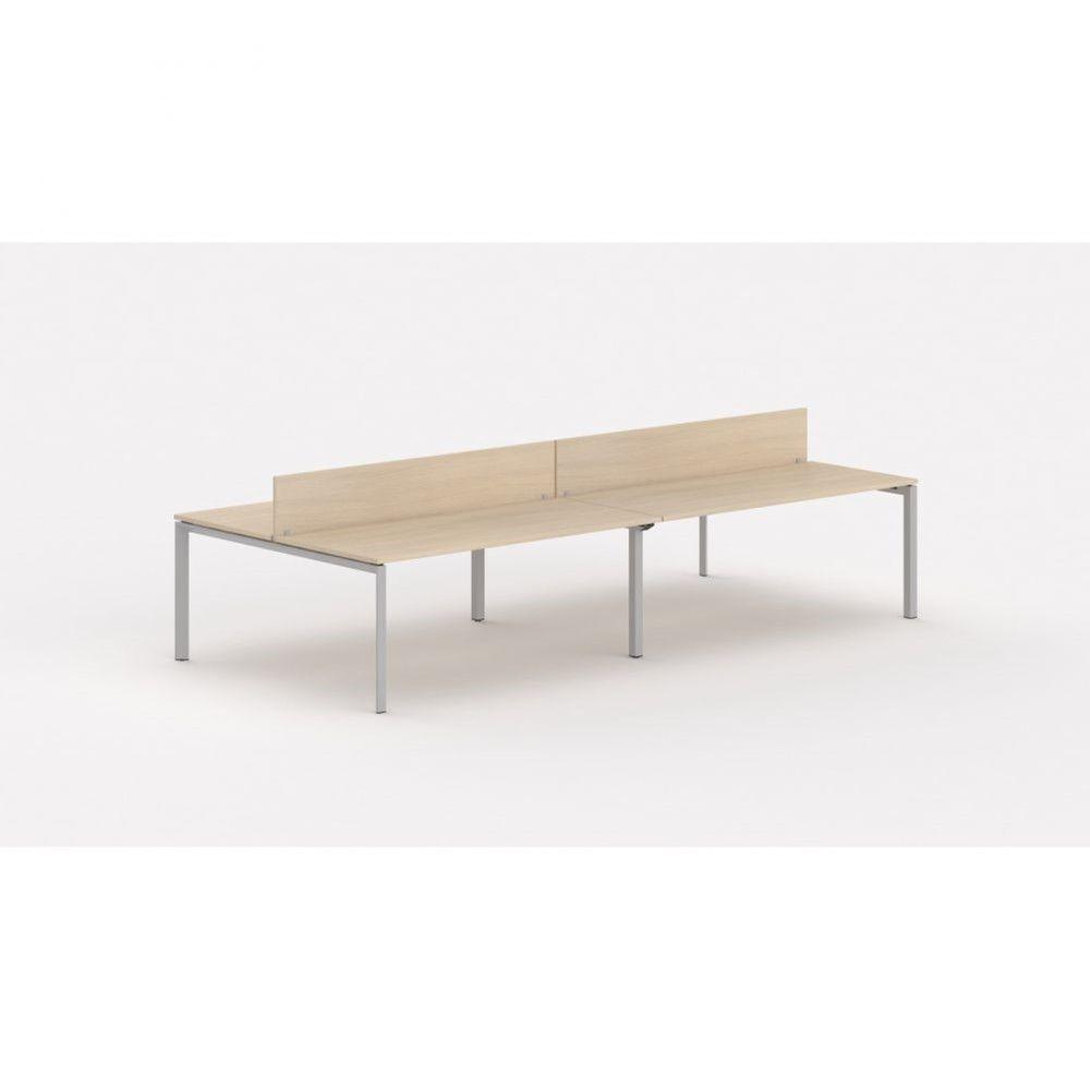 Bureau bench 4 personnes - cloisonnette Regis Chêne moyen L360 cm Pieds argenté