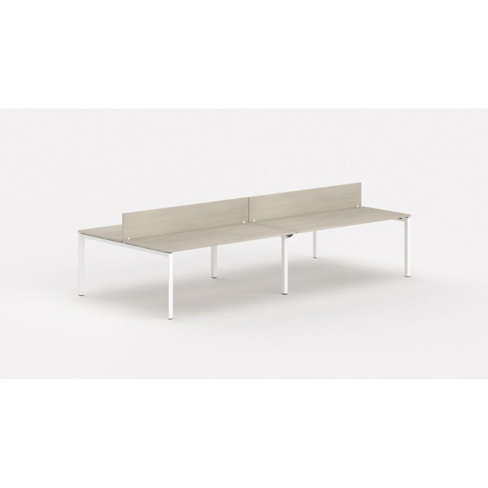Bureau bench 4 personnes - cloisonnette Regis Acacia clair L360 cm Pieds blanc