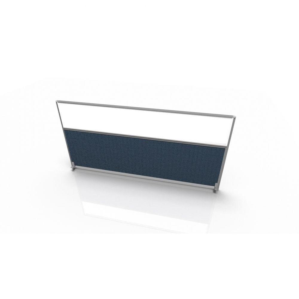 Cloisonnette frontale pour bureau individuel en tissu Regis Gris Longueur 120 cm