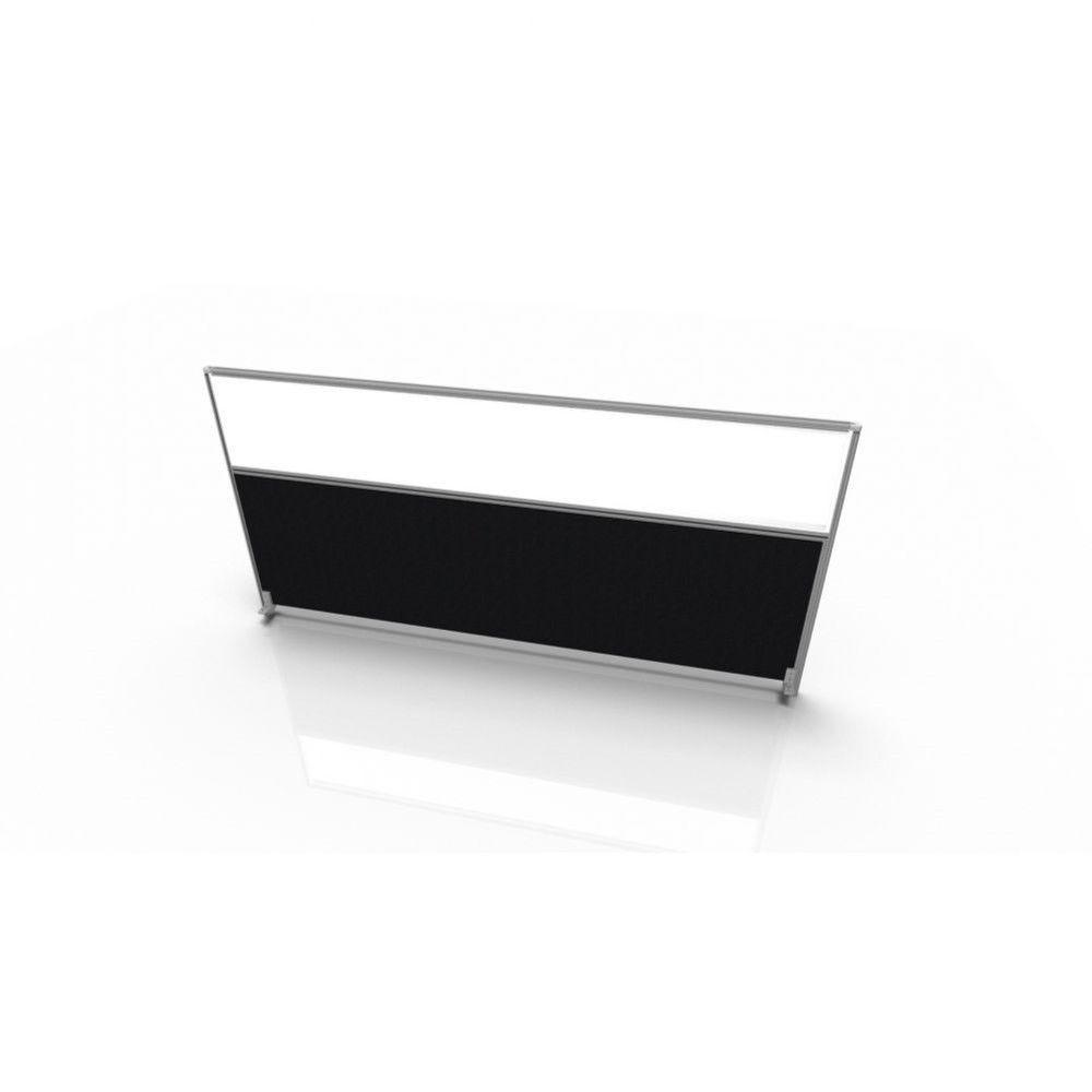 Cloisonnette frontale pour bureau individuel en tissu Regis Noir Longueur 180 cm