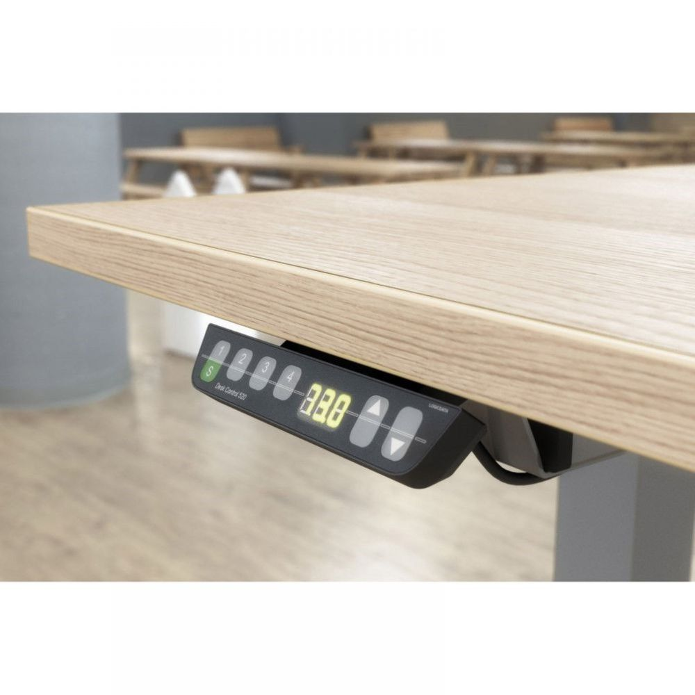 Bureau assis-debout Sofia Chêne moyen L140 cm Boîtier mémoire Pieds graphite
