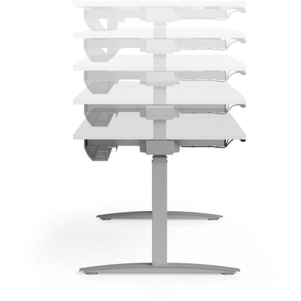 Bureau assis-debout Sofia Chêne moyen L200 cm Boîtier Up/Down Pieds graphite