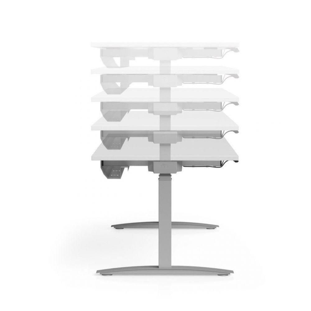 Bureau assis-debout élect.Angèle Acacia clair L220 cm Boîtier Up/Down graphite