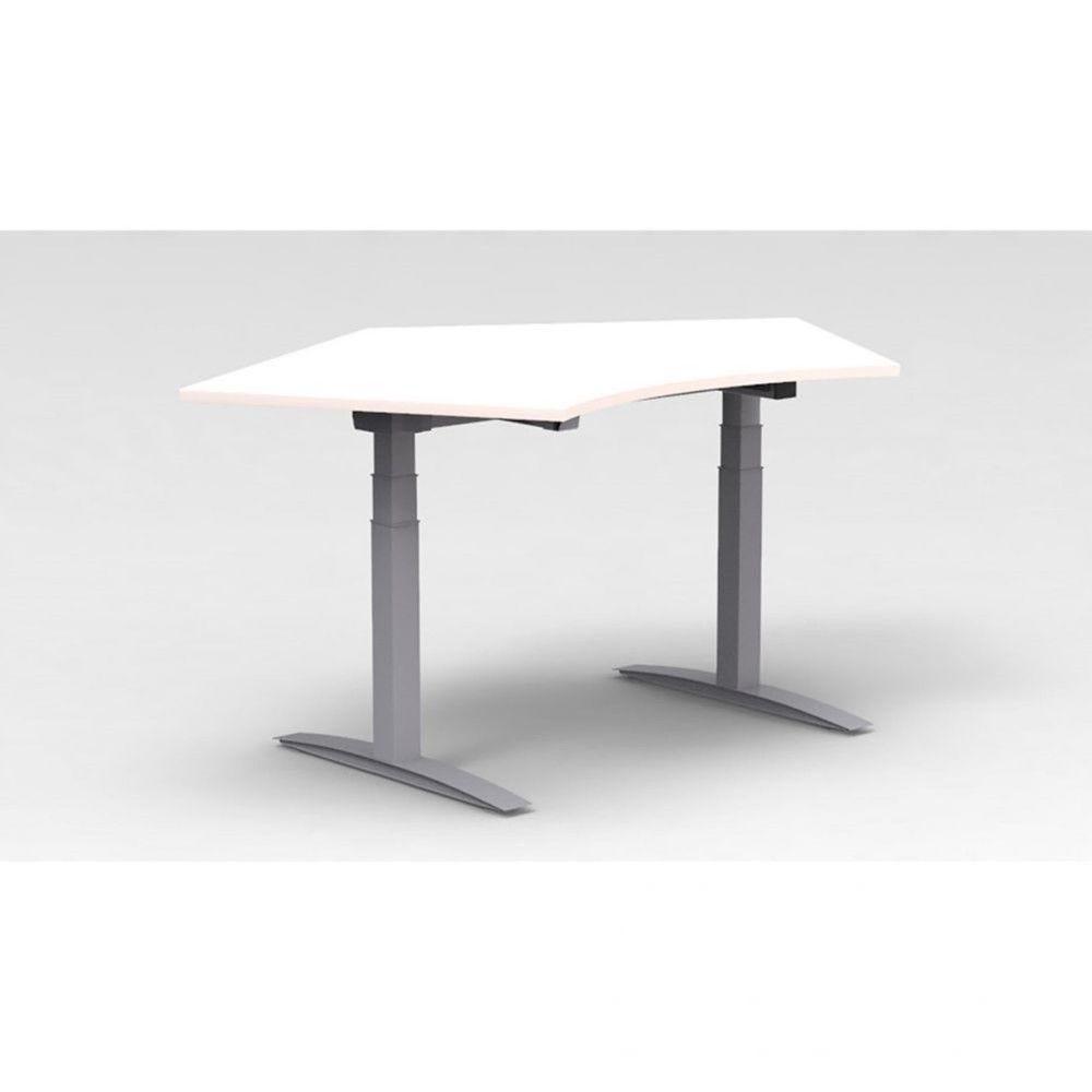 Bureau assis-debout électrique Roméo / Blanc / Boîtier mémoire / Pieds argenté
