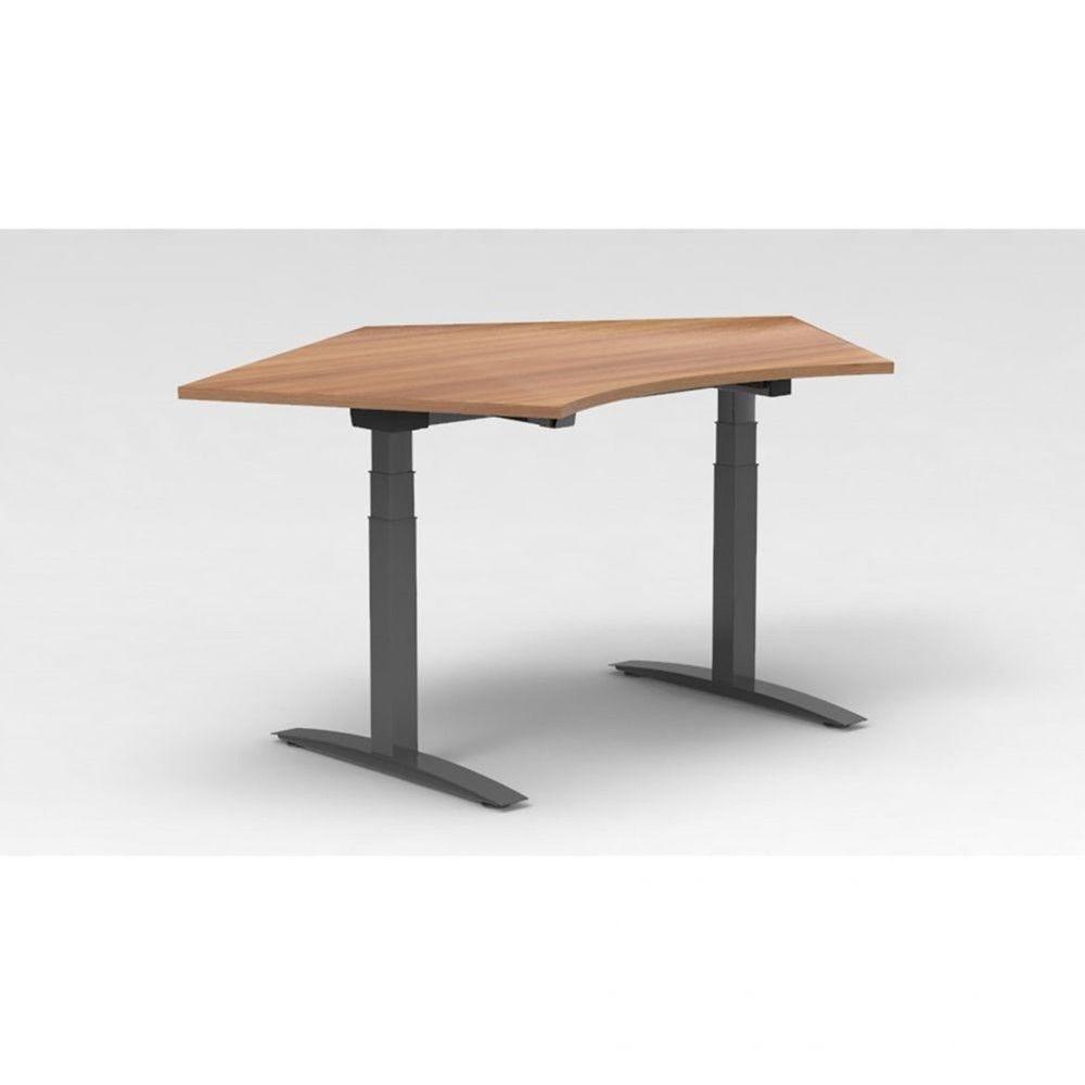 Bureau assis-debout électrique Roméo / Poirier / Boîtier mémoire / Pieds argenté