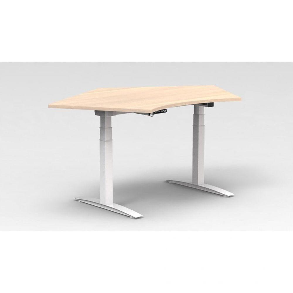 Bureau assis-debout électrique Roméo / Hêtre / Boîtier mémoire / Piétement blanc