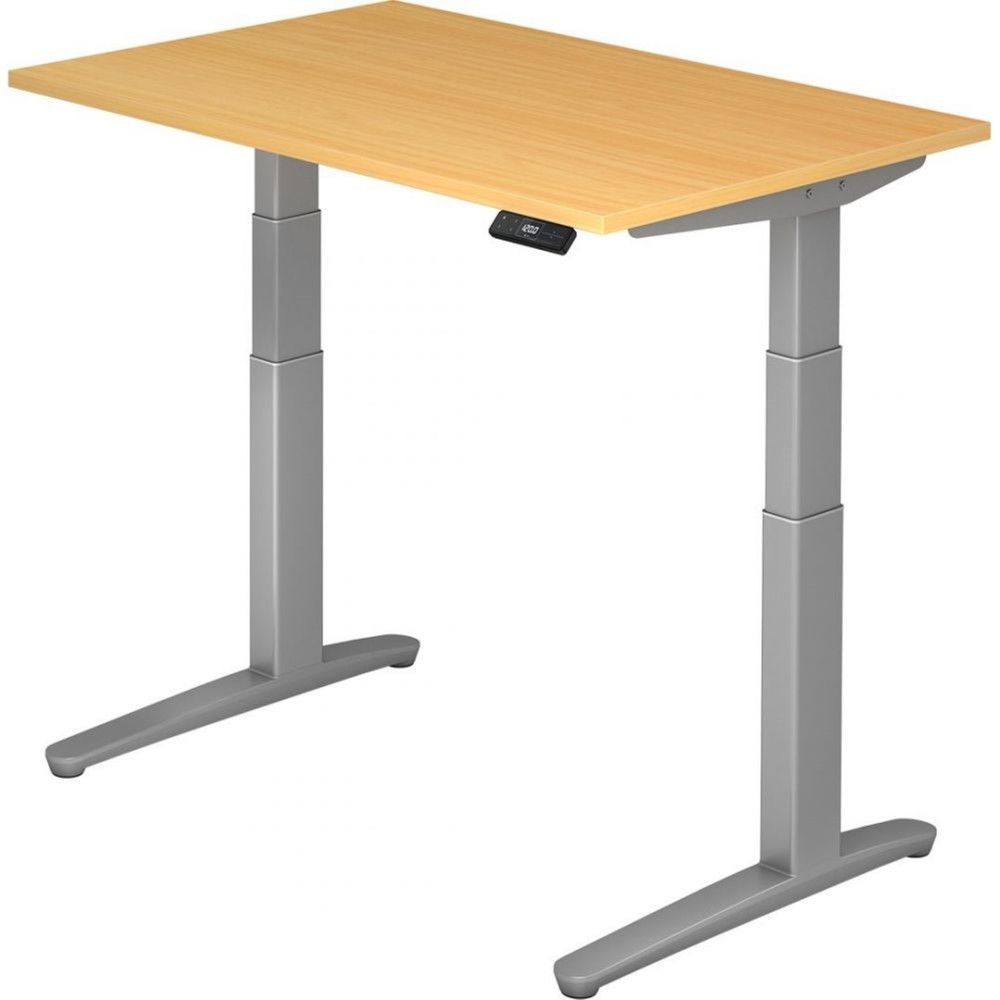 Bureau assis-debout électrique Frida / Hêtre / Longueur 120 cm / Argenté