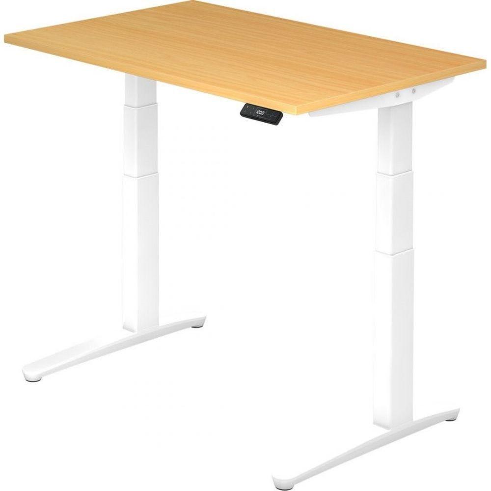 Bureau assis-debout électrique Frida / Hêtre / Longueur 120 cm / Blanc