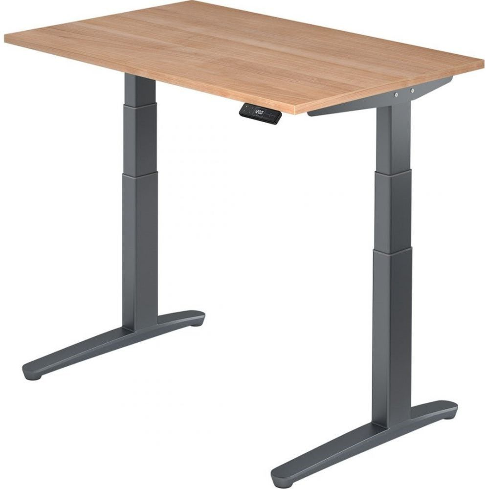 Bureau assis-debout électrique Frida / Noyer / Longueur 120 cm / Graphite