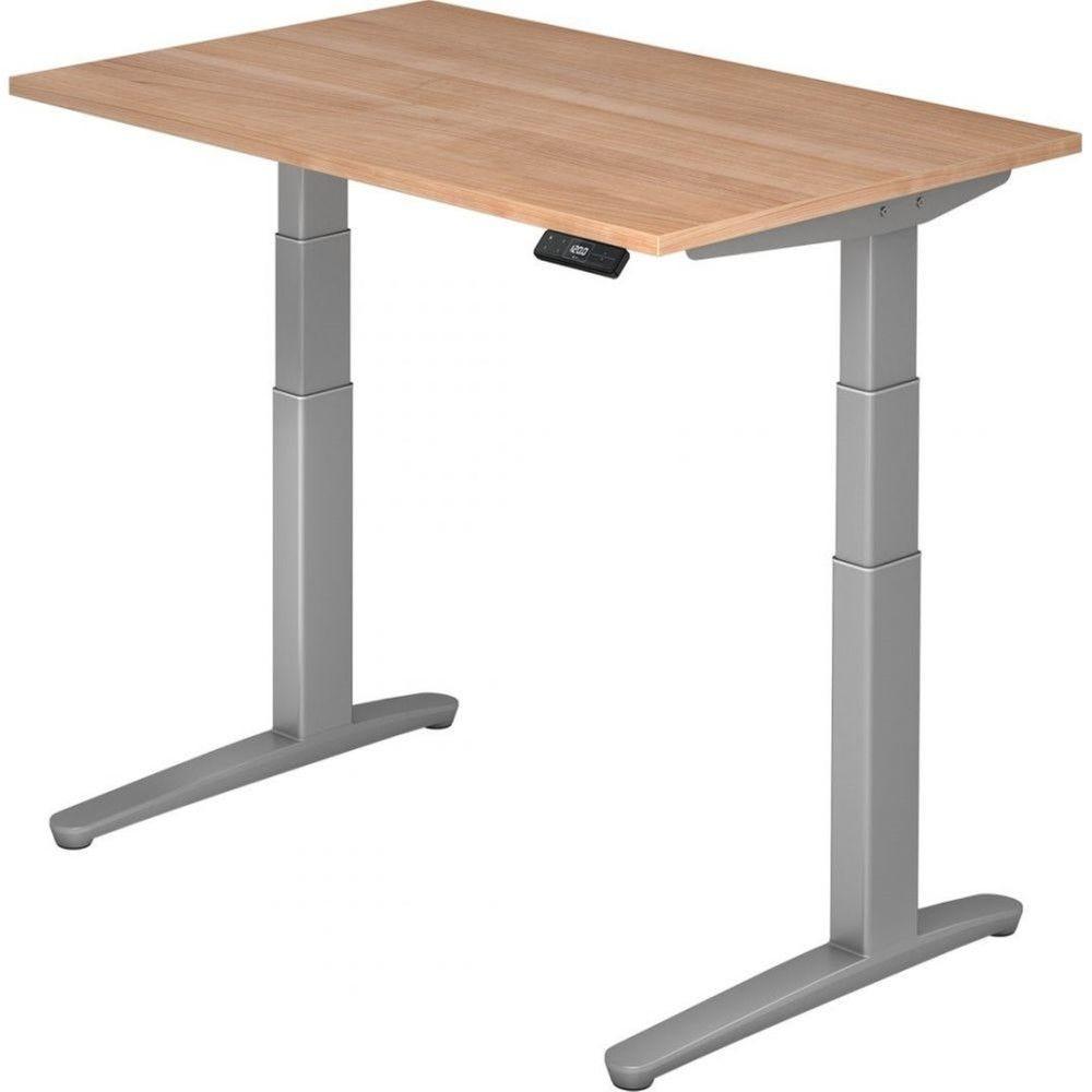 Bureau assis-debout électrique Frida / Noyer / Longueur 120 cm / Argenté