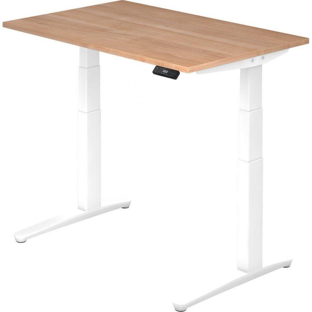 Bureau assis-debout électrique Frida / Noyer / Longueur 120 cm / Blanc