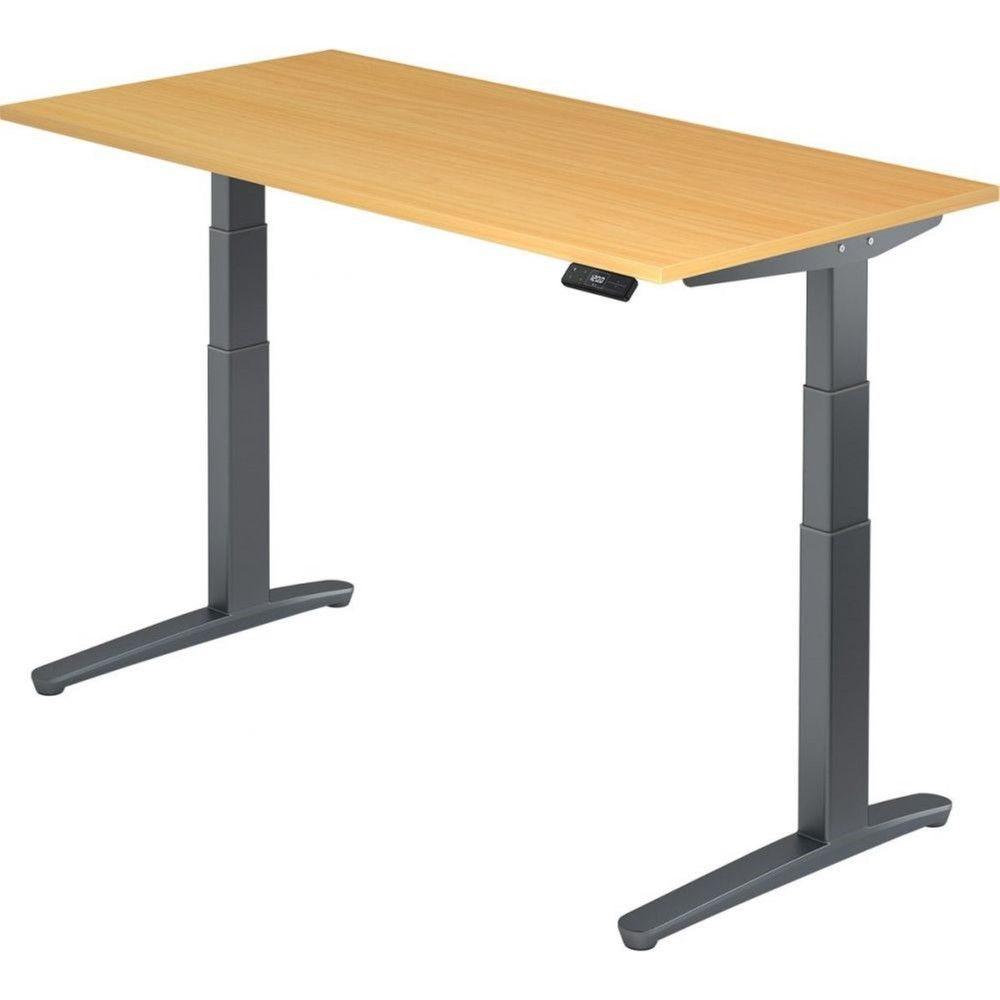 Bureau assis-debout électrique Frida / Hêtre / Longueur 160 cm / Graphite
