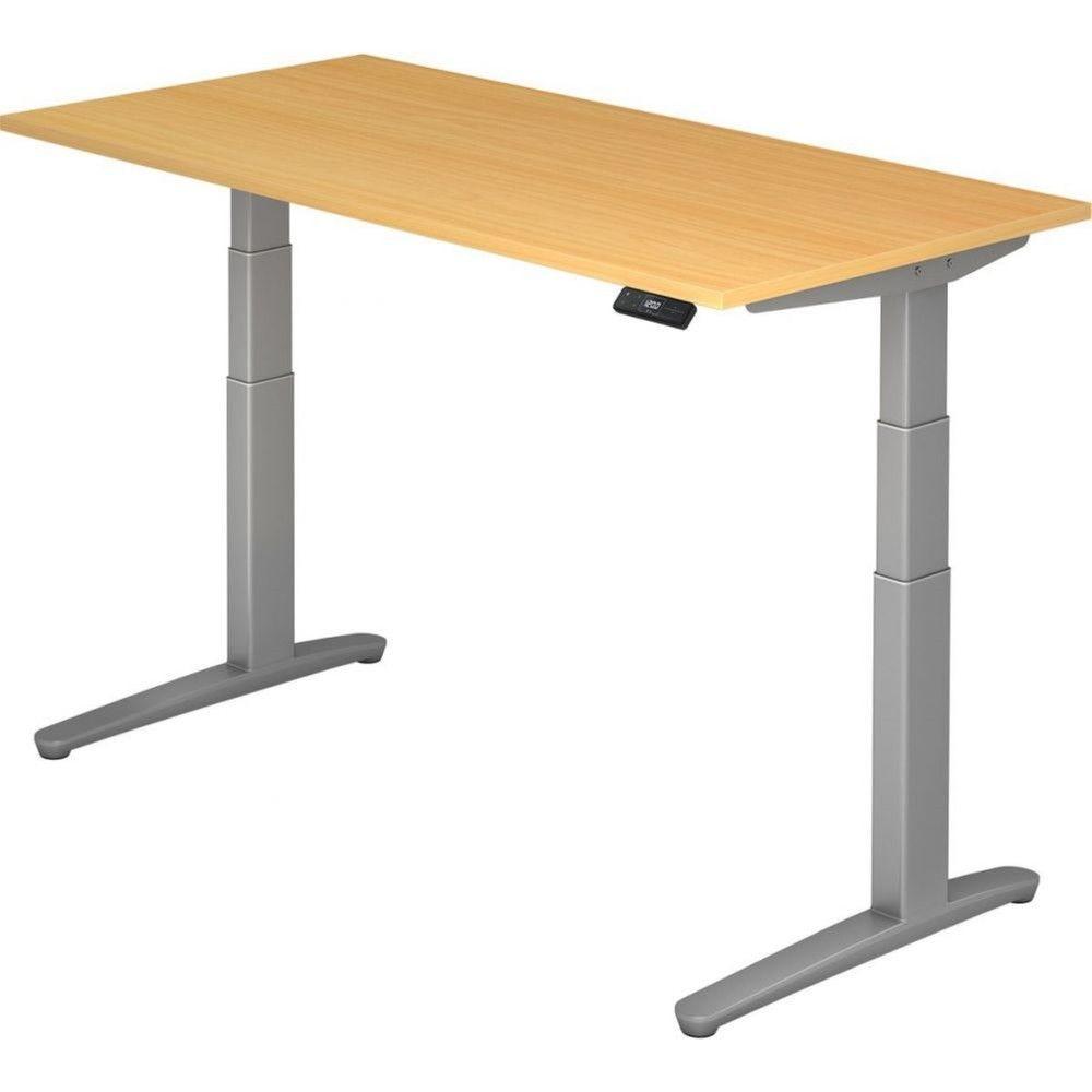 Bureau assis-debout électrique Frida / Hêtre / Longueur 160 cm / Argenté